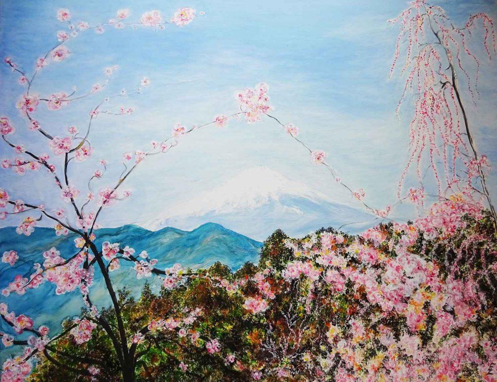 Fuji mit Kirschblüten